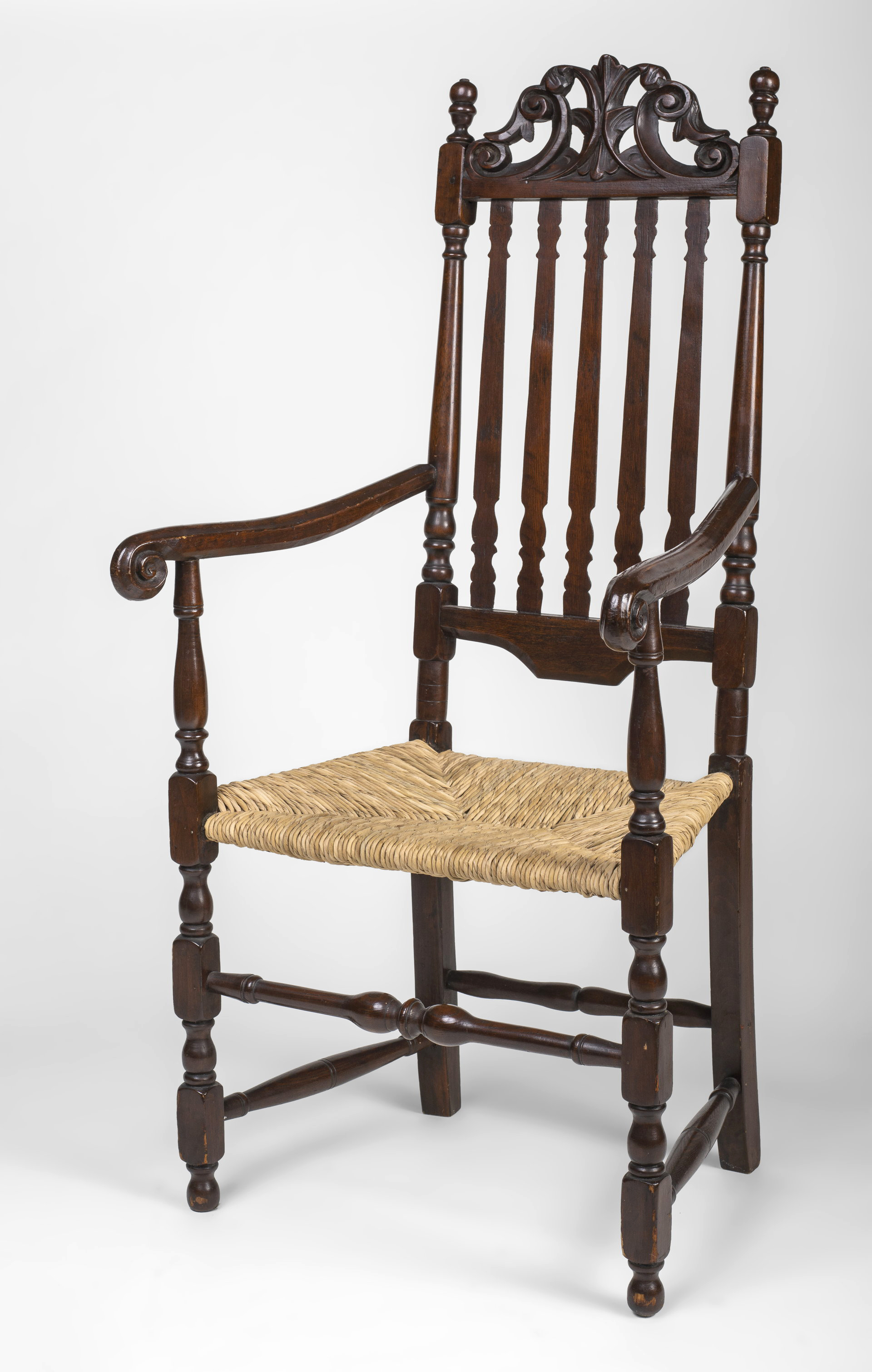 very fine William and Mary banister-backed armchair